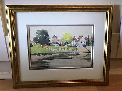 Lovely Watercolour Painting Of River Scene In Gold Frame