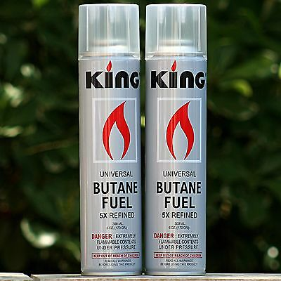 2 Pack KING 5x Butane Gas for Torch Lighter 300ML Cigar Refill Fluid Tank Liter