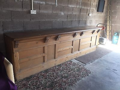 Large Victorian Pine Wood Shop Counter