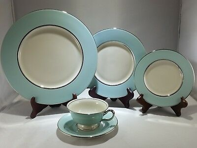 Castleton Turquoise China Dishes One Five Piece Place Setting Fine Condition