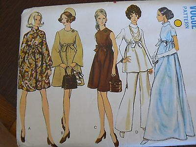 Vintage 1970's Maternity Dress Top & Trousers Sewing Pattern Bust 36 Vogue 7632