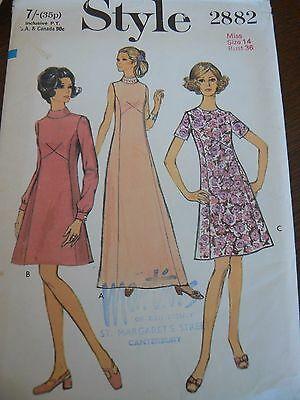Vintage 1960's 1970's  Dress Sewing Pattern Bust 36 Style 2882