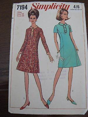Vintage 1960's Dress Sewing Pattern Bust 36 Simplicity 7194