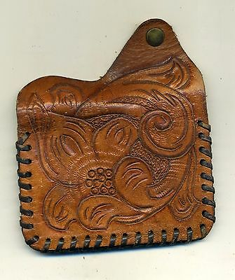 Tooled Leather Vintage Double Slots Snap Coin Purse BC Initials Hand Crafted
