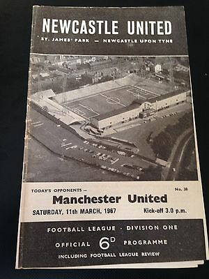 Newcastle V Manchester United 1966/67 Programme Title Winning Year