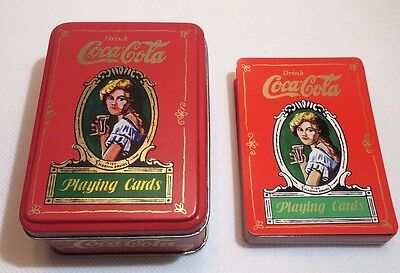 Vintage 1980  Coca Cola,  Playing Cards with Metal Box Full set of Cards