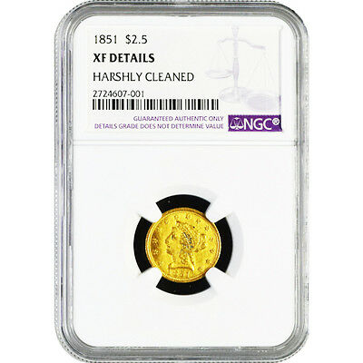 $ 2.5 $ 2½ Dollars 1851 Gold Coronet Head - Quarter Eagle NGC XF Details KM # 72