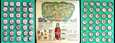 "Rare!! 1969 ""discover Disneyland"" ~ Complete Coke Coca-Cola Bottle Cap Set & Map"