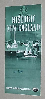 ***vintage 1947 New York Central Railroad Historic New England Brochure***w/map