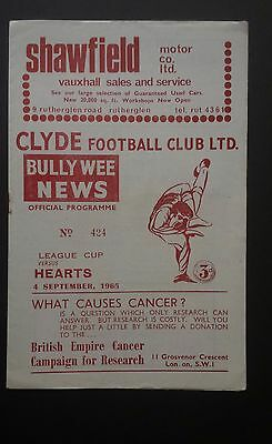 Clyde v Hearts 4th September 1965 Scottish League Cup Programme