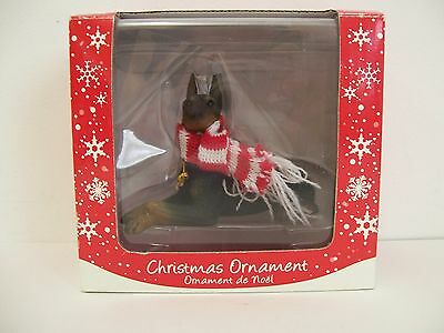 Sandicast Black Doberman Pinscher With Red / White Scarf Christmas Ornament -NEW