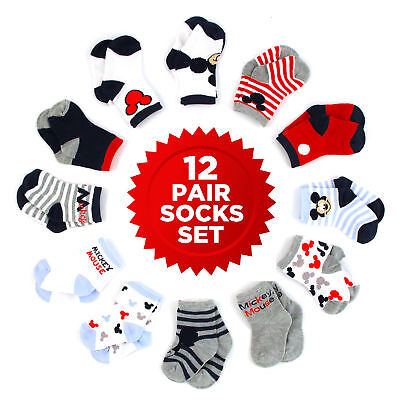 Disney Mickey Mouse 12 Pair Assorted Color Socks Set, Baby Boys, Age 0-24M