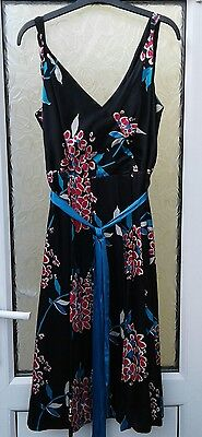 Monsoon dress size 16 Black with red and blue floral print. Worn once