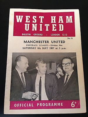 West Ham V Manchester United 1966/67 Programme Title Winning Year Good Condition