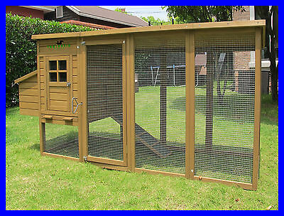 8ft/2.5m Extra Large Chicken Coop Roof Hen House Poultry Rabbit Hutch Duck Bird