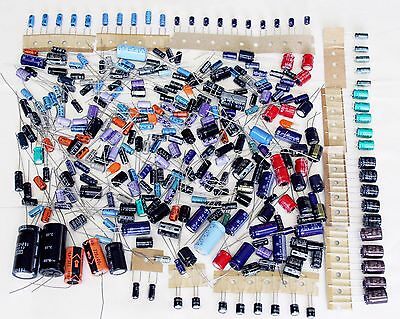 Job lot of electrolytic capacitors 0.1uF to 470uF - 300+ electronics components