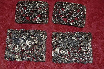 Pair of Vintage Musi Brass Shoe Clips GORGEOUS Intricate Design