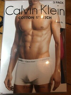 NWT Calvin Klein XL Men's 3- Pack Low Rise Trunks Classic Fit