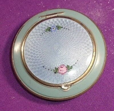 Vintage Guilloche Powder/rouge Compact Top Opening Blue Enamel Roses W/puff
