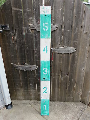 64 Inch Wood Hand Painted Tide Or Flood Measure Sign Nautical Seafood (#s676)