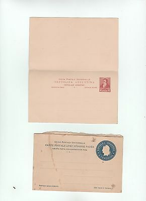Argentina STATIONERY 2 reply carta postal unused Ganzsache entier  Reponse