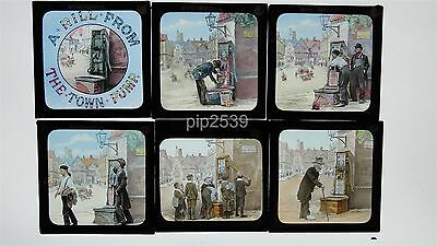 Group Of 10 Magic Lantern Slides - A Rill From Old Town Pump - Hand Coloured