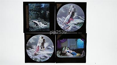 Group Of 4 Magic Lantern Slides - Religious Scenes - Rock Of Ages - Hand Tinted
