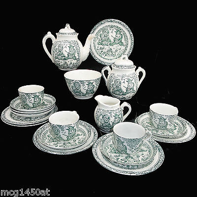 Green PUNCH & JUDY Staffordshire Childs Tea Set Charles Allerton & Sons 1895