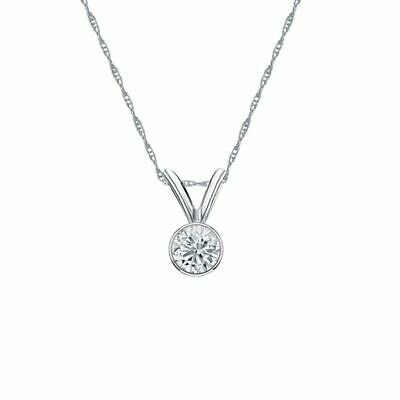 14K White Gold Bezel Round-Cut Diamond Solitaire Pendant 1/6ct G-H, VS2 w/Chain