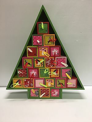 Advent Calendar Wood Christmas Tree FreeStanding Pull Drawers Countdown Holiday