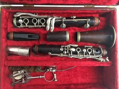 Antique H Freeman Wood Clarinet New York With Hardshell Case (FOR PARTS!)
