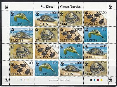 St Kitts 1995 Green Turtle Sc 384a X4 Green Turtle  complete  mint never hinged