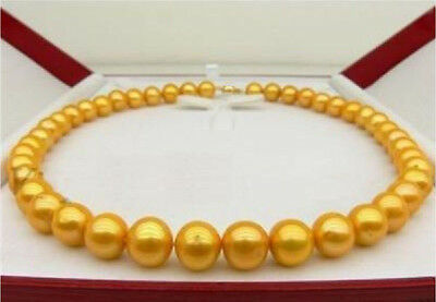"""10-11Mm 14K South Sea Golden Natural Pearl Necklace 18"""" 14K Yellow Gold Clasp"""