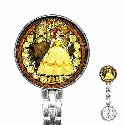 Beauty and The Beast Stainless Steel Nurse Watch Nurses Watch Fob Pocket Watch