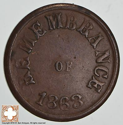 Remembrance Of 1863 One Country Civil War Token *1230