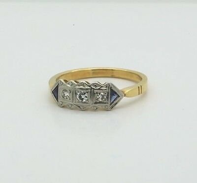 Antique Art Deco Ring in 18k Yellow Gold Rhodium Topped with Diamonds