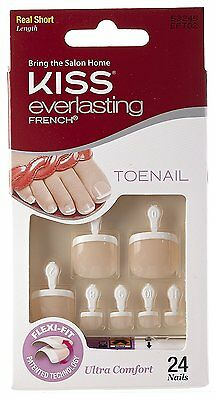 Kiss Everlasting French Toenail Kit, Real Short Length, 24 Nails + Glue
