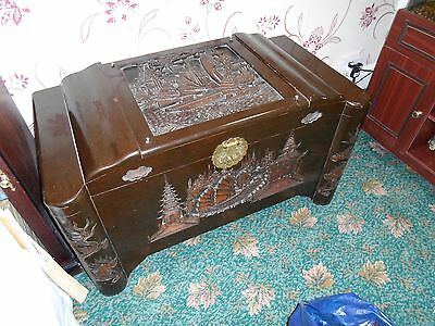 Large Carved Dark Wood Chest Asian