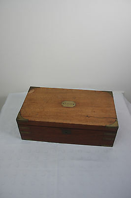 Victorian Wooden Writing Slope/Campagin Box with side draw