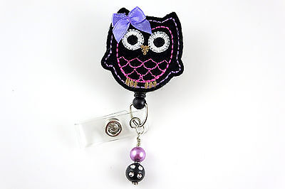 Cute Black Owl - Retractable ID Name Nurse Badge Holder Reel RN Lanyard Tag Clip