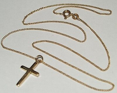 9ct yellow gold cross pendant with chain necklace