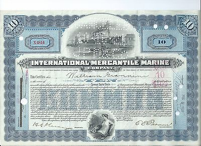 Titanic stock certificate: International Mercantile Marine 1921 Issued Giannini