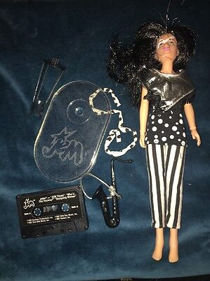Jem and the Holograms JETTA doll Black Hair vintage Hasbro Tape Sax Stand ++