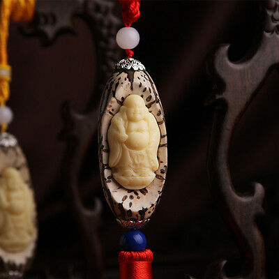 Bodhi Seed Carving Delicate Chinese Happy Buddha Sculpture Car Pendant Amulet