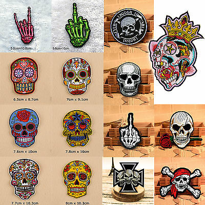 Skull Embroidered Sew On Iron On Patches Badge Bag Clothes Fabric Applique Craft