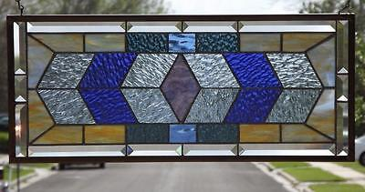 "•VIVA LA Blue • Beveled Stained Glass Window Panel •24 3/4""-10 3/4"""