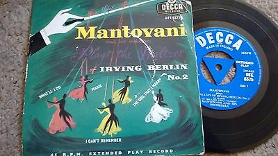 MANTOVANI PLAYS THE WALTZES OF IRVING BERLIN DECCA TRI-CENTRE 45rpm EP