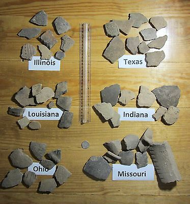 Native American Pottery Sherds, Authentic Artifacts, From Six Different States