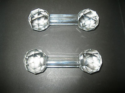 One Pair Of Vintage Crystal Knife Rests.