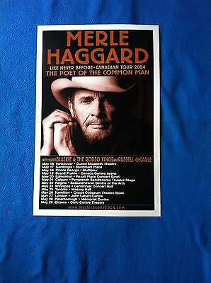 """Merle Haggard - The Poet Of The Common Man 2004 Concert Tour Poster """"rare"""""""